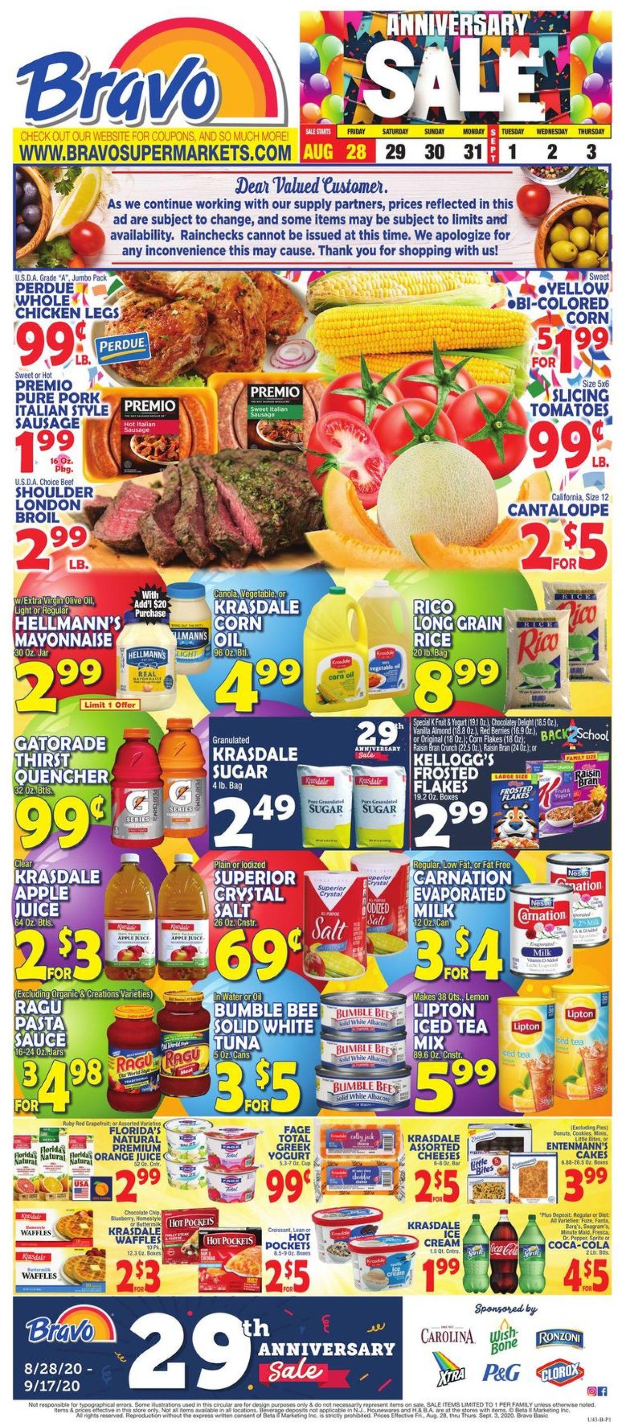 Catalogue Bravo Supermarkets from 08/28/2020