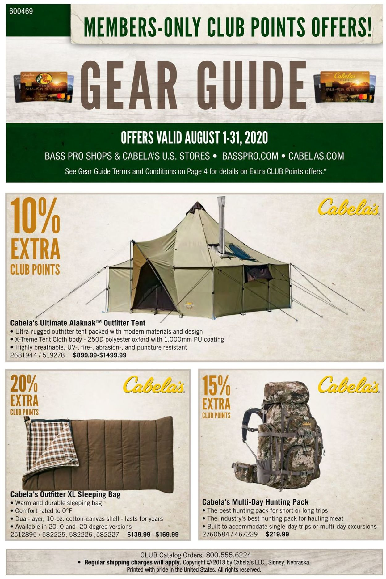 Catalogue Cabela's from 08/01/2020